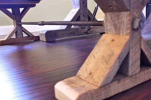 Aged Wooden Trestle Turnbuckle Table And Bench