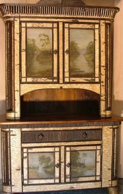 Custom Made Rustic Hutch With Oil Paintings