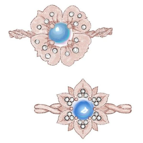 Sketches for a bold floral ring with diamond-studded petals in rose gold around a moonstone center.
