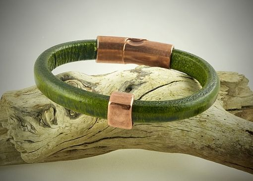 Custom Made Moss Green Regaliz Leather Bracelet Copper Details