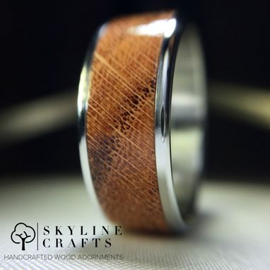 Custom Made Honey Locust Wood Ring. Handcrafted Wood Ring On Your Choice Of Titanium Or 316 Stainless Steel