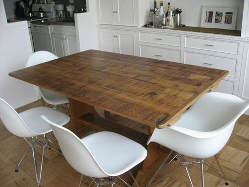 Custom Made Barn Wood Trestle Table In Modern Apartments