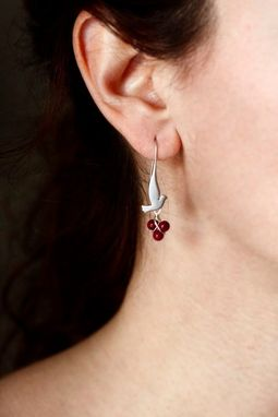 Custom Made Silver Singing Birds- Red Coral-White Pearl