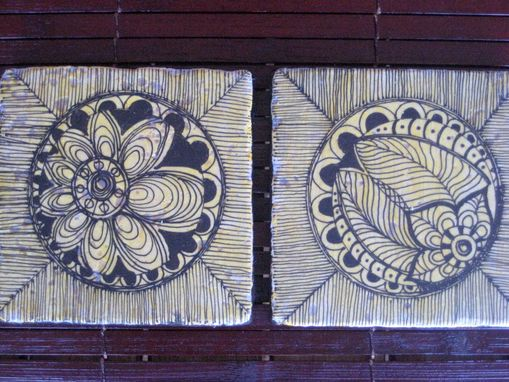 Custom Made Tile Coasters Black And White Handmade With Original Artwork-Set Of 4 Tile
