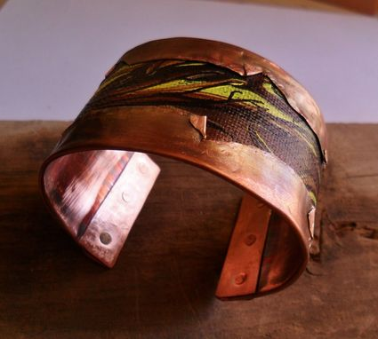 Custom Made Copper Cuff Bracelet With Hand Painted Canvas