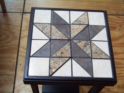 Custom Made Tiled Accent Table - Black