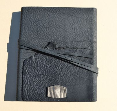 Custom Made Black Leather Journal Cookbook Lined Personal Diary Handmade Travel Notebook (596b)
