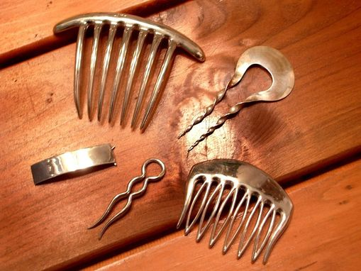 Custom Made Small Sterling Silver Modernist Hair Comb