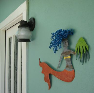 Custom Made Handmade Upcycled Metal Mermaid And Squid Wall Art Sculpture