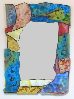 Custom Made Contemporary Stained Gl Border Mirror