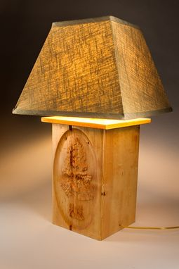 Custom Made Moose And Fir Tree Carved Table Lamp