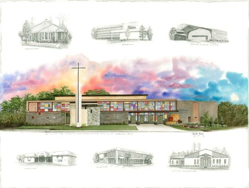 Custom Made Custom Watercolor Of Church Building And Rendering Of Previous Locations From Photos