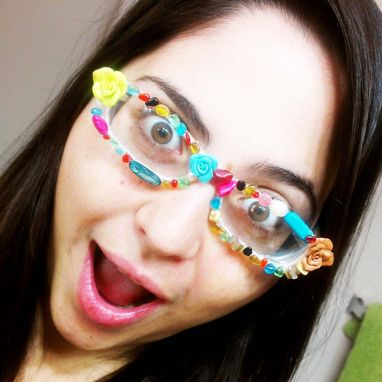 Custom Made Custom Embellished Eye Glasses - Adorable And Quirky Reading Glasses