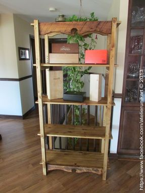 Custom Made 5 Shelves Shelf Reclaimed Wood