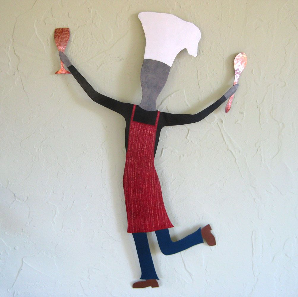 Custom Made Dancing Male Chef Metal Wall Art Sculpture Kitchen Decor Cooking