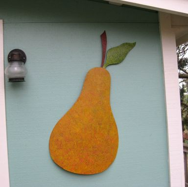 Custom Made Handmade Upcycled Metal Pear Wall Art Sculpture