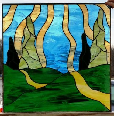 Custom Made Sunset Rays-Stained Glass Panels (P-50)