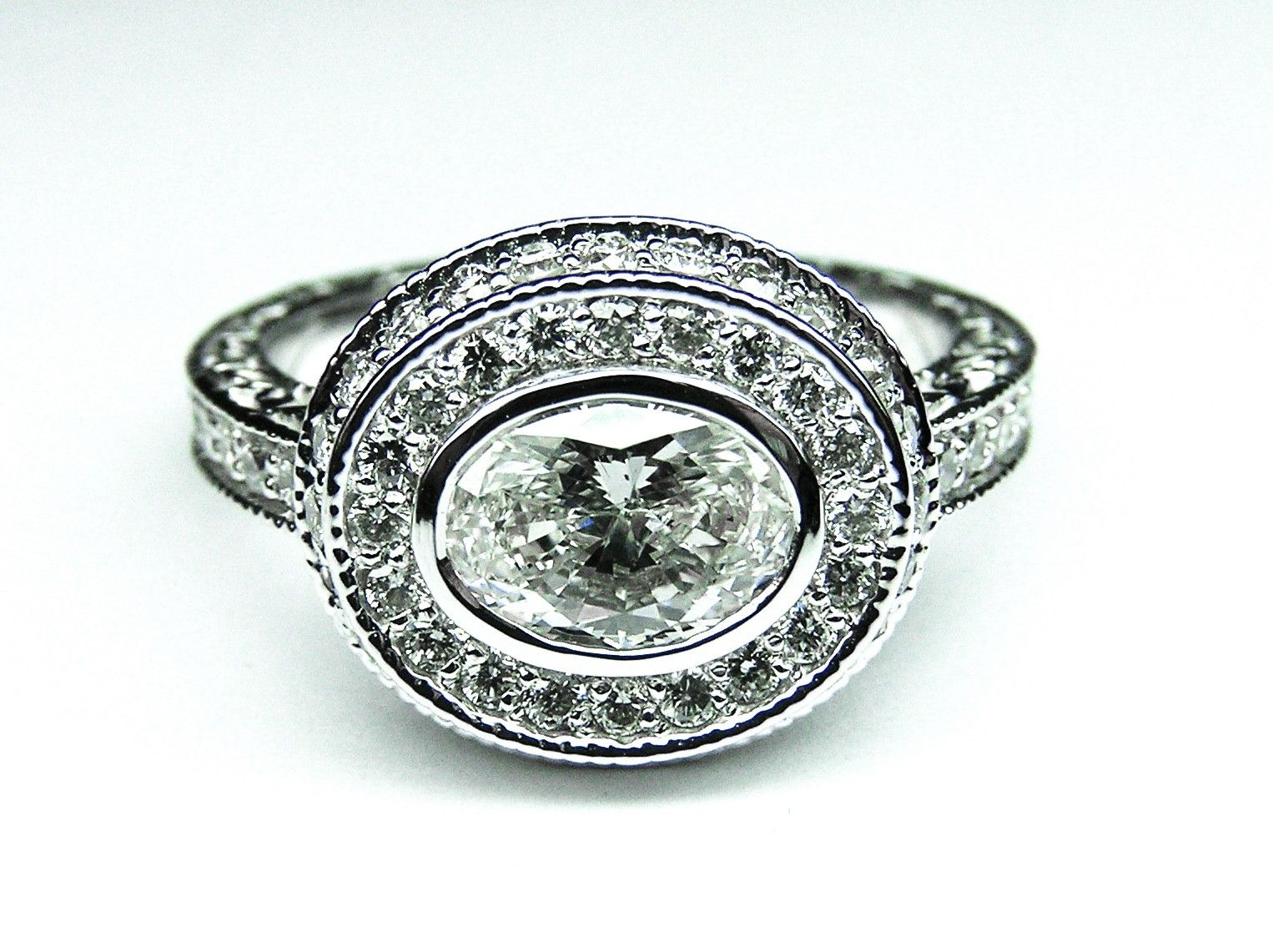 Custom Made Horizontal Oval Diamond Engagement Ring Bezel Set With Halo And  Engraved Band In 14k