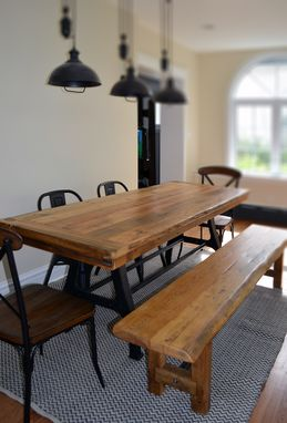 Custom Made Industrial Wishbone Leg Rustic Wood Table And Bench