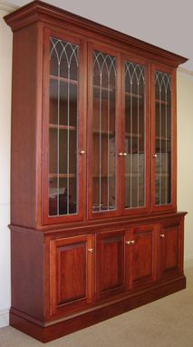 Custom Made Cherry Bookcase W/ Leaded Glass Doors