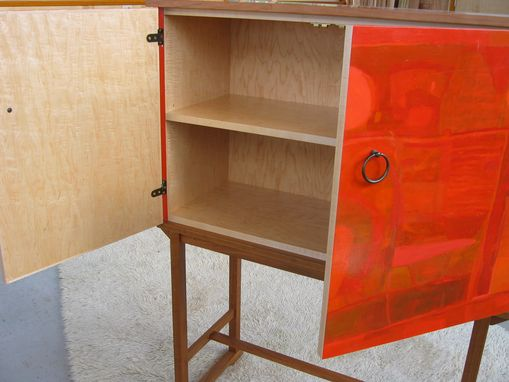 Custom Made Danish Mid Century Modern Cherry Painted Chest On Stand Cabinet