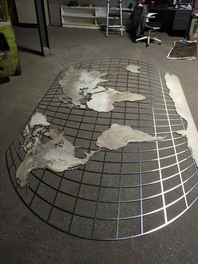 Hand Crafted Huge Metal World Map Atlas Style Cutout By