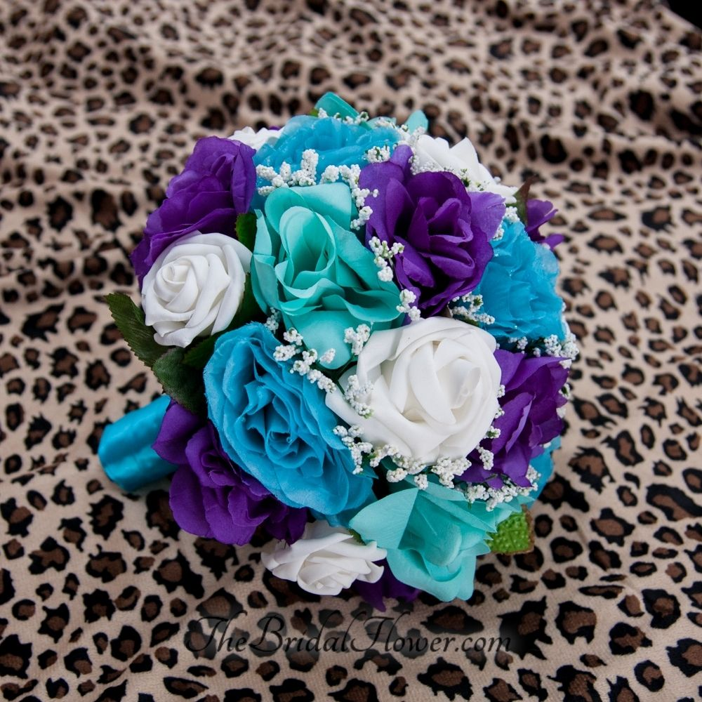 Hand Made Purple Turquoise And Aqua Teal Tiffany Blue Round Bridal Bouquet With Malibu Handle By The Flower