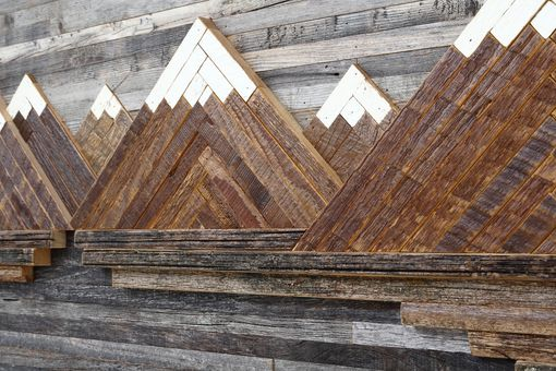 Custom Made Wood Wall Art Mountain Landscape 48 By