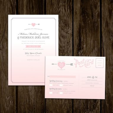 Custom Made Pink Ombre Wedding Invitations