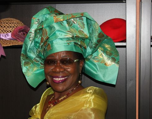 Custom Made Pret-A-Porter - Pre-Made African Gele Headwrap - Head Tie - Green -Metallic