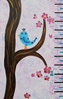Custom Made Birds In A Tree Growth Chart Nursery Wall Art / Kids Room. Painting On Canvas