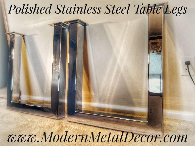 Hand Made Slab Edge Table Top Custom Chrome / Stainless Steel Table