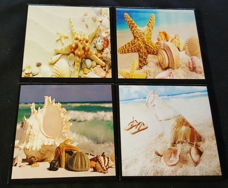 Custom Made Seashells Ceramic Tile Coaster Set