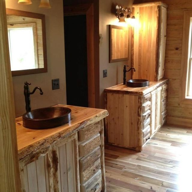 Custom Rustic Cedar Bathroom Vanity By King Of The Forest Furniture - 36 inch rustic bathroom vanity