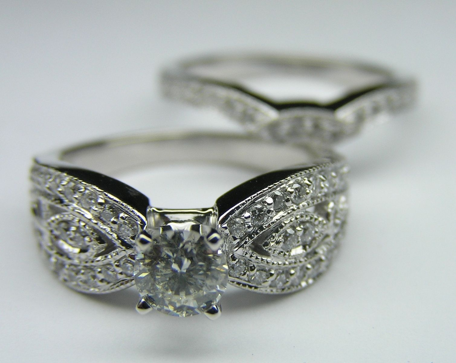 hand crafted round diamond butterfly engagement ring matching wedding band bridal set in 14k white gold with initials incorporated into the design - Butterfly Wedding Rings