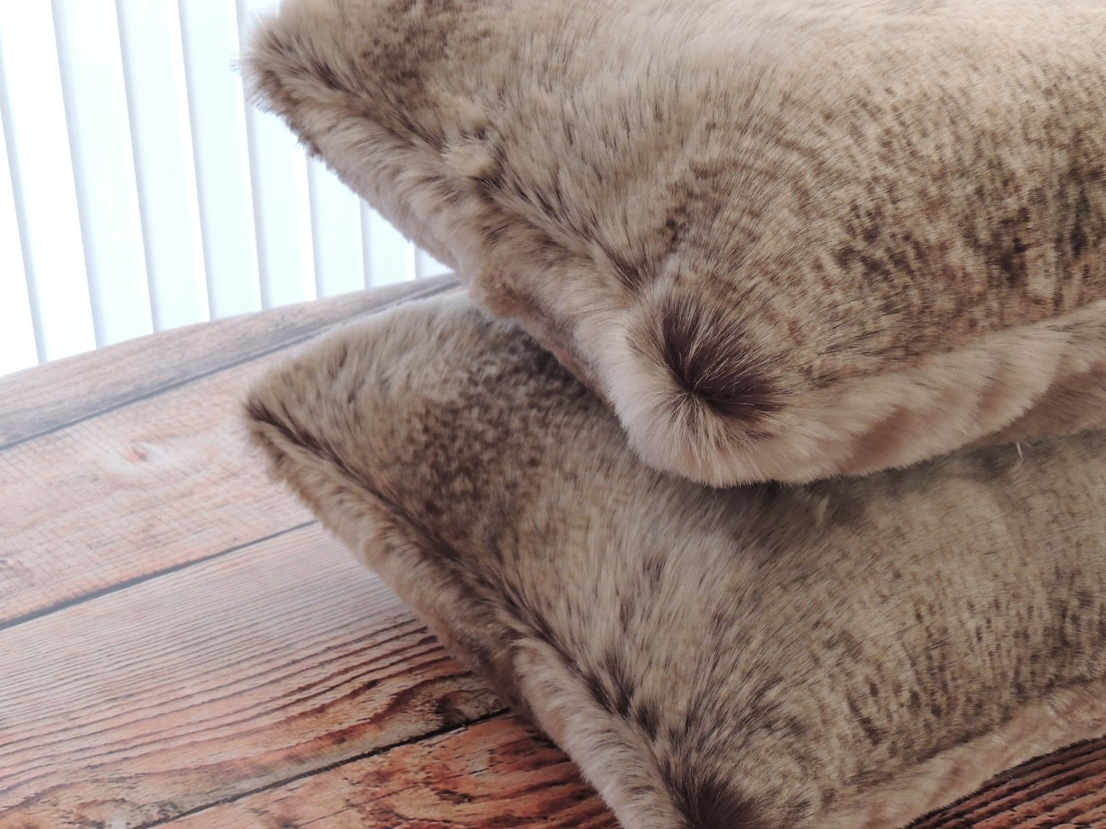 Custom Chinchilla Fur Beige Faux Fur 18 X 18 In Decorative