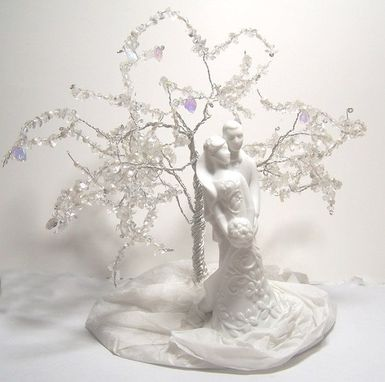 Custom Made Wedding Cake Topper Tree Of Life Sculpture - Modern Porcelain Couple Figurine, Winter Wedding