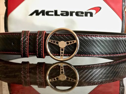 Custom Made Carbon Fiber Leather Belt W/ Steering Wheel Belt Buckle