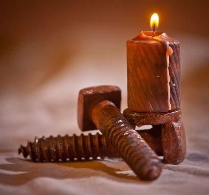 Custom Made Lag Bolt Candle Holders