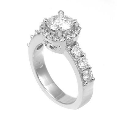 Custom Made Halo Round Diamond Engagement Ring With Cubic Zirconia Center Stone