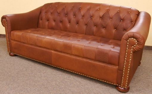 Custom Made Camel Tufted Leather Sofa