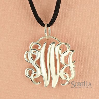 Custom Made Flowing Script Monogram Pendant In Sterling Silver