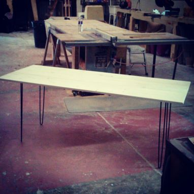 Custom Made Plank And Hairpin Table