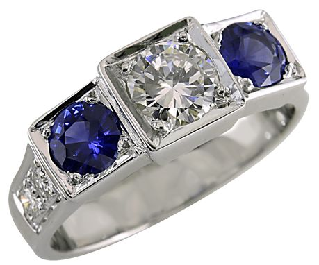 Custom Made Custom Made Diamond And Sapphire Ring