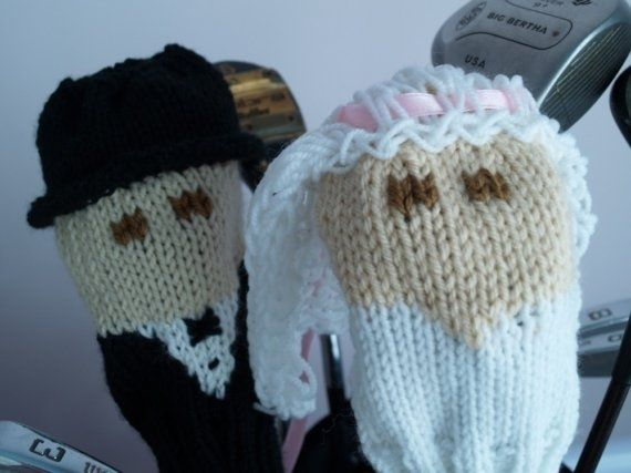 Hand Crafted Bride And Groom Wedding Knit Golf Club Covers By Tracey Knits Custommade Com
