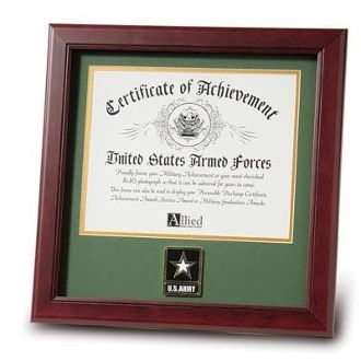 Custom Made Go Army Medallion Certificate Frame