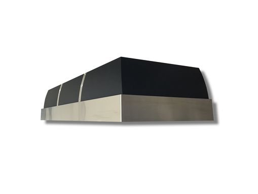 Custom Made #65 Black Steel Range Hood With Brushed Stainless Steel Accents
