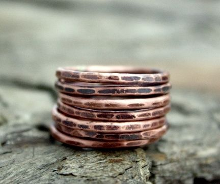 Custom Made 7 Lucky Copper Stacking Rings - $38