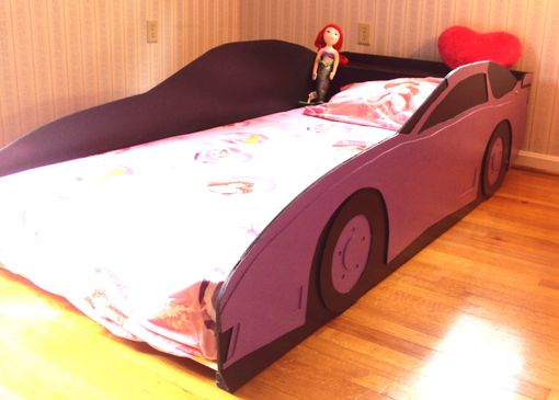 Custom Made Sportscar Twin Kids Bed Frame - Handcrafted - Race Car Themed Children's Bedroom Furniture