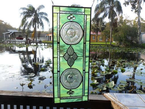 Custom Made Recycled Depression Glass Stained Glass Window Panel W/Royal Lace Plates